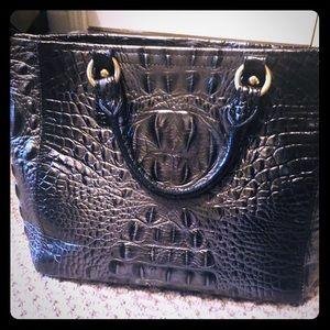 Brahmin Leather Croc Pattern Twilight Mini Arno.
